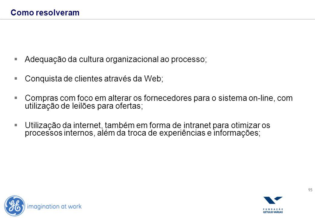 Como resolveram Adequação da cultura organizacional ao processo; Conquista de clientes através da Web;