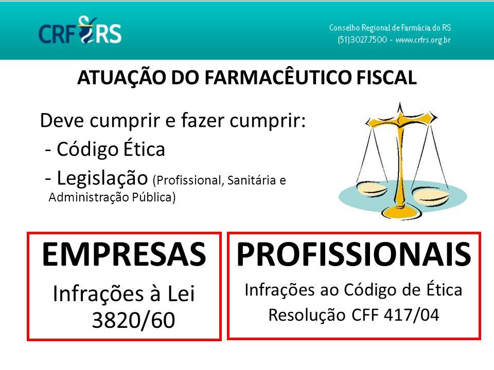 ATUAÇÃO DO FARMACÊUTICO FISCAL