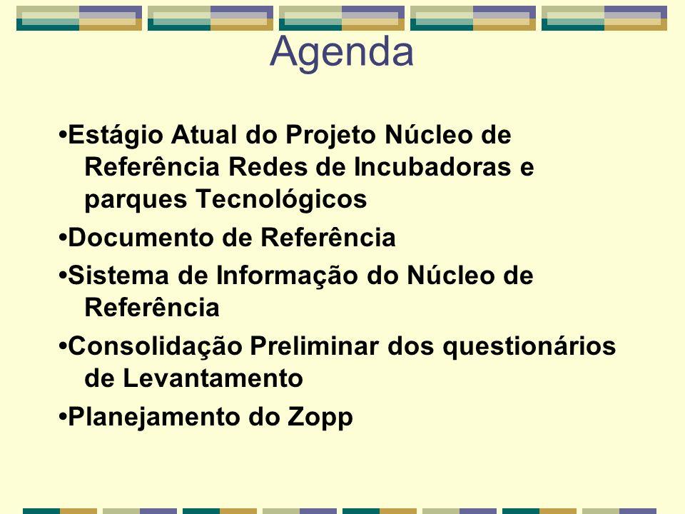 Agenda•Estágio Atual do Projeto Núcleo de Referência Redes de Incubadoras e parques Tecnológicos. •Documento de Referência.