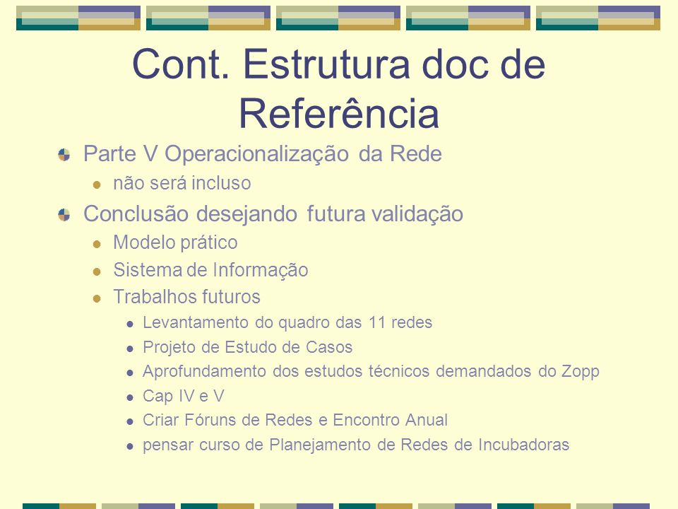 Cont. Estrutura doc de Referência