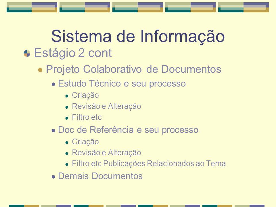 Sistema de Informação Estágio 2 cont
