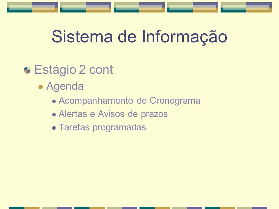 Sistema de Informação Estágio 2 cont Agenda