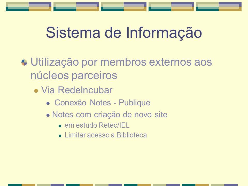 Sistema de Informação Utilização por membros externos aos núcleos parceiros. Via RedeIncubar. Conexão Notes - Publique.