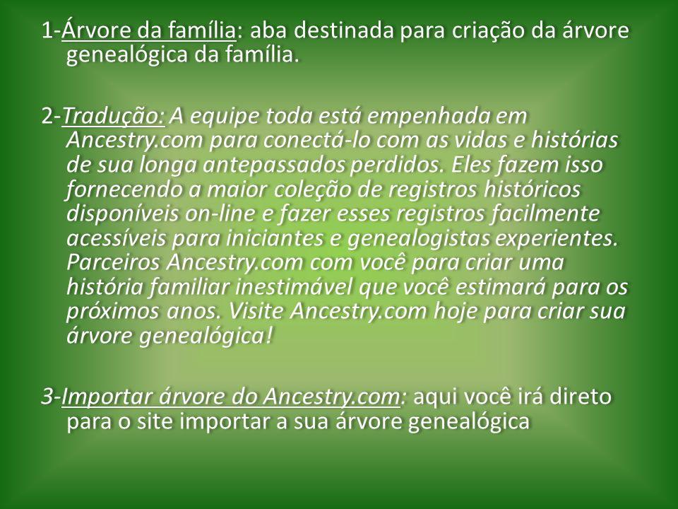 1-Árvore da família: aba destinada para criação da árvore genealógica da família.