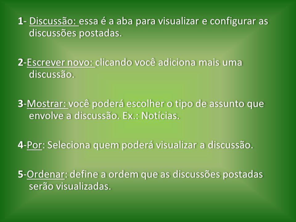 1- Discussão: essa é a aba para visualizar e configurar as discussões postadas.