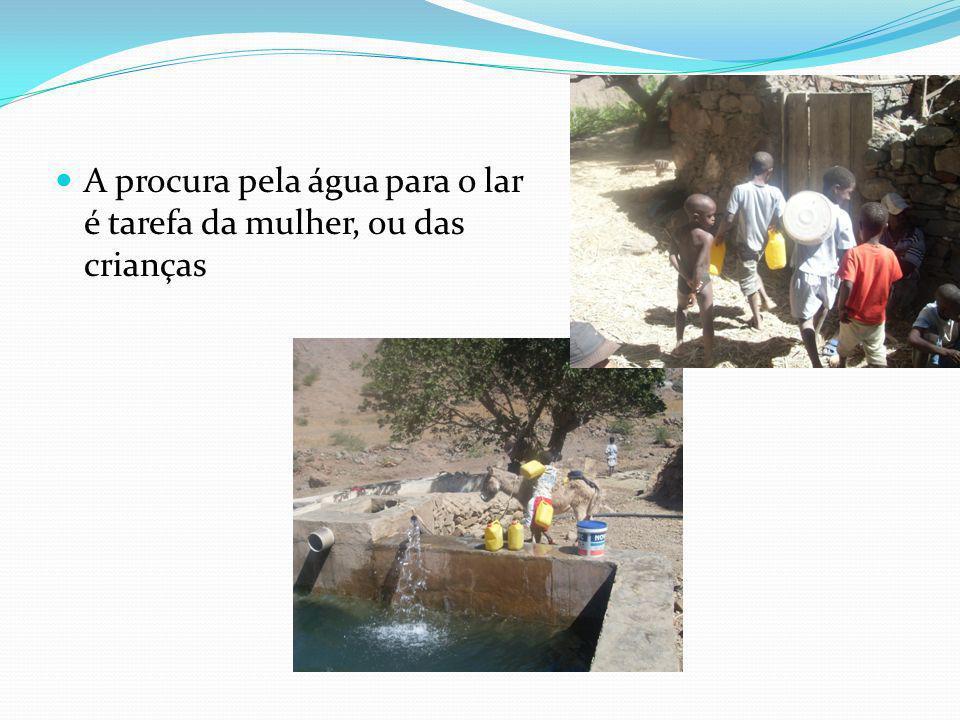 A procura pela água para o lar é tarefa da mulher, ou das crianças