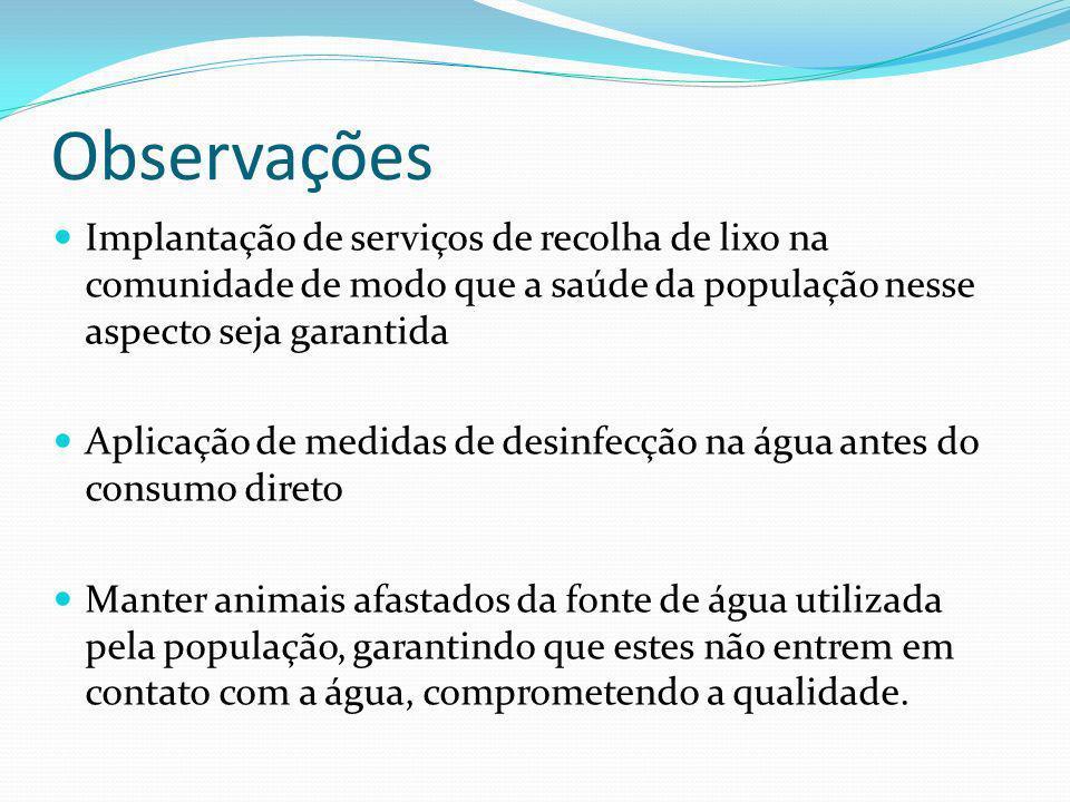Observações Implantação de serviços de recolha de lixo na comunidade de modo que a saúde da população nesse aspecto seja garantida.