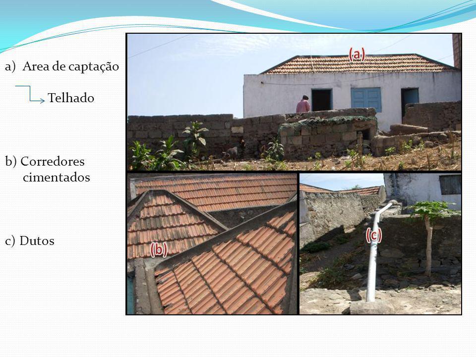 Area de captação Telhado b) Corredores cimentados c) Dutos
