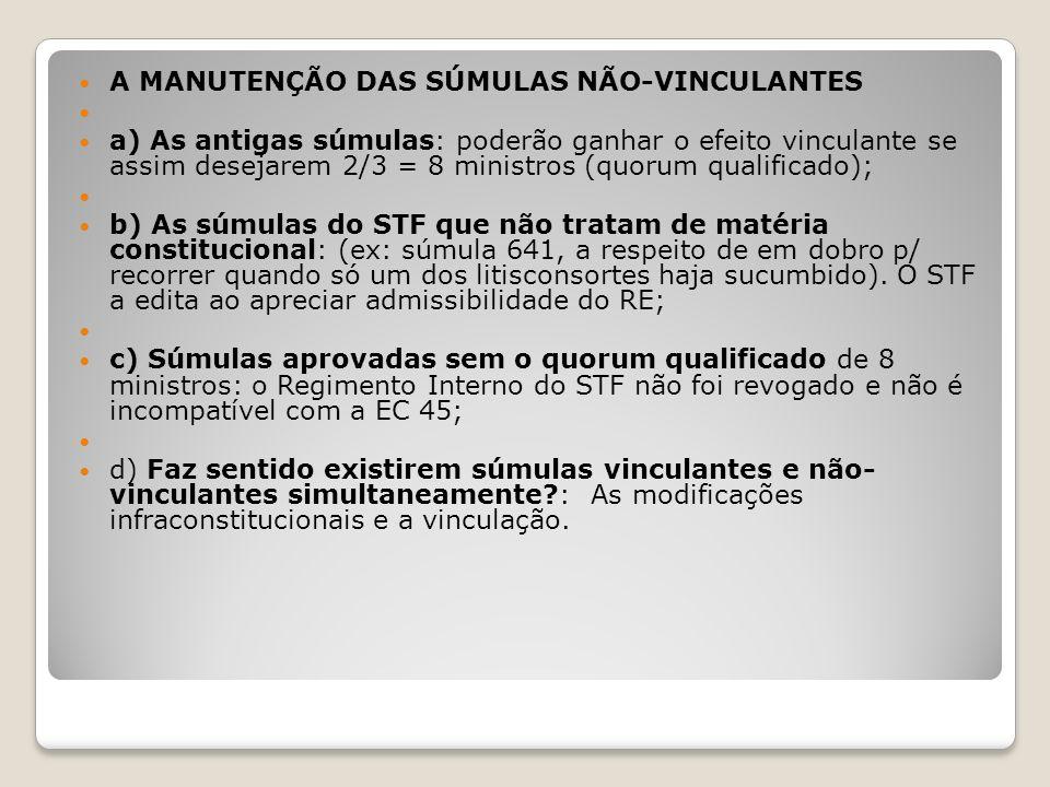 A MANUTENÇÃO DAS SÚMULAS NÃO-VINCULANTES