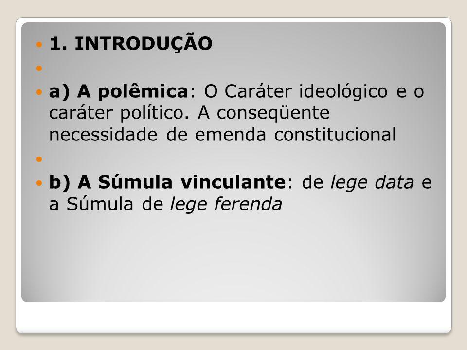 1. INTRODUÇÃO a) A polêmica: O Caráter ideológico e o caráter político. A conseqüente necessidade de emenda constitucional.