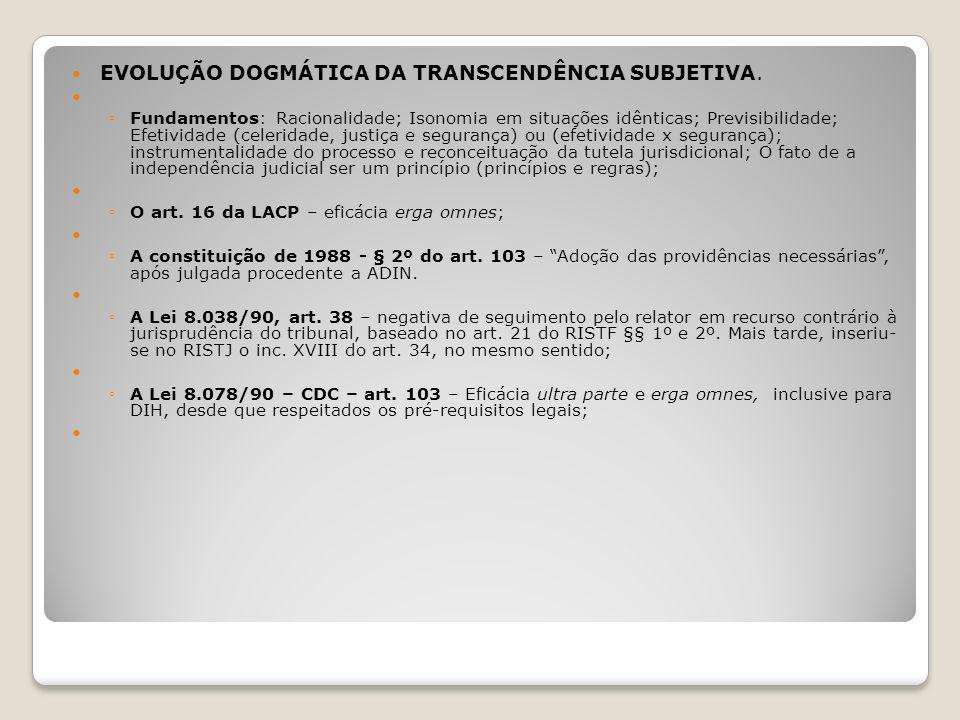 EVOLUÇÃO DOGMÁTICA DA TRANSCENDÊNCIA SUBJETIVA.