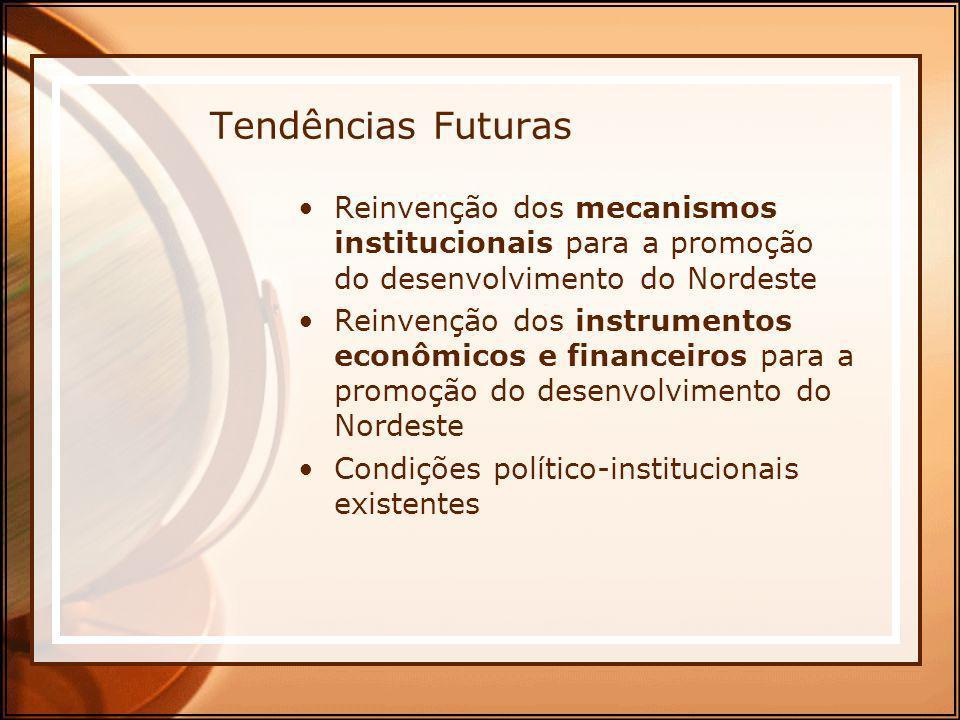 Tendências Futuras Reinvenção dos mecanismos institucionais para a promoção do desenvolvimento do Nordeste.