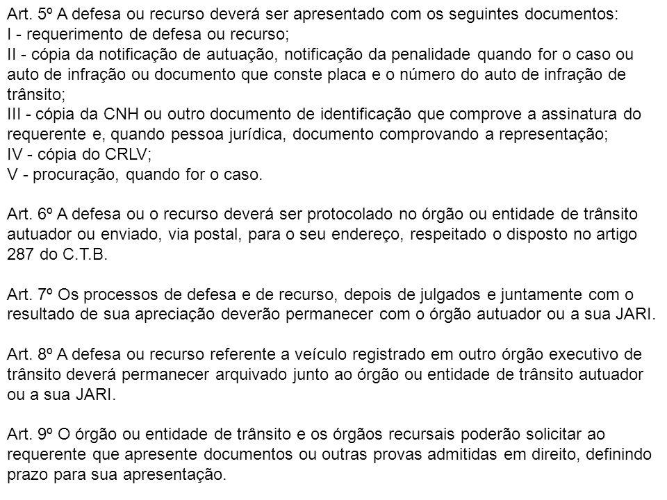 Art. 5º A defesa ou recurso deverá ser apresentado com os seguintes documentos:
