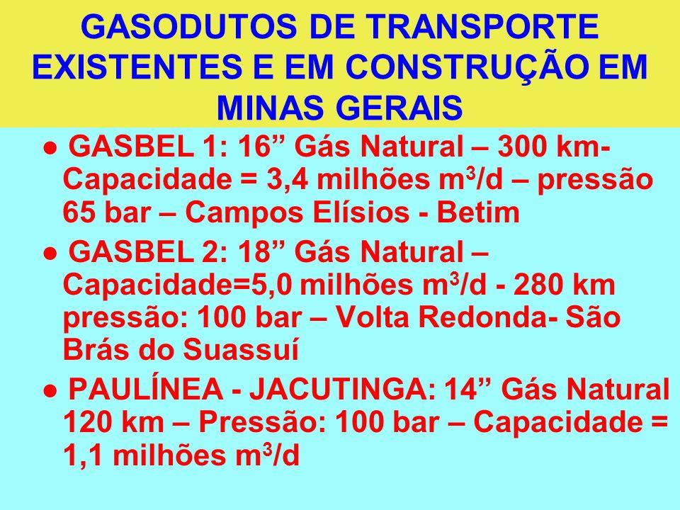 GASODUTOS DE TRANSPORTE EXISTENTES E EM CONSTRUÇÃO EM MINAS GERAIS
