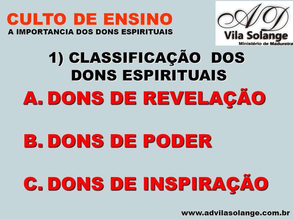 DONS DE REVELAÇÃO DONS DE PODER DONS DE INSPIRAÇÃO CULTO DE ENSINO