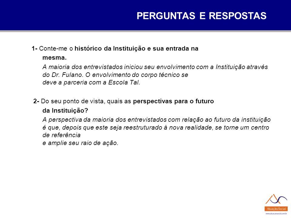 PERGUNTAS E RESPOSTAS 1- Conte-me o histórico da Instituição e sua entrada na. mesma.