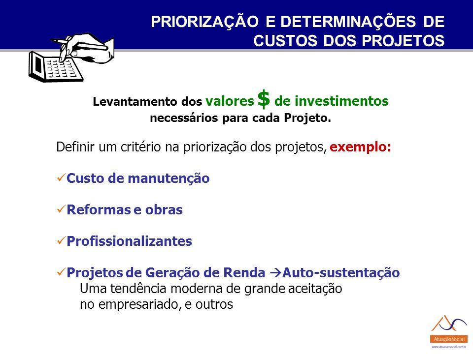 PRIORIZAÇÃO E DETERMINAÇÕES DE CUSTOS DOS PROJETOS