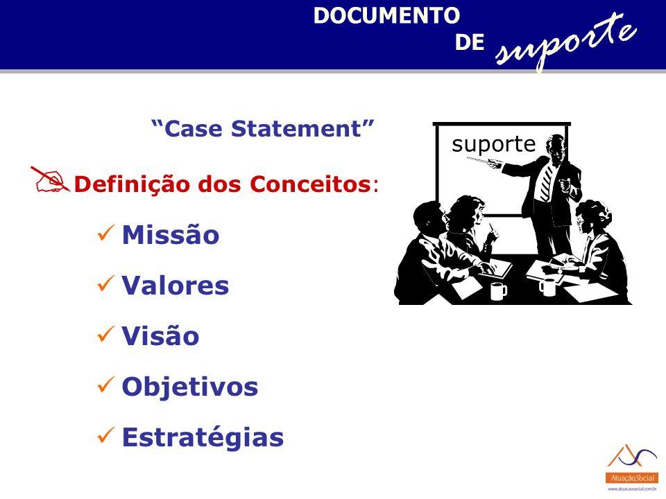 suporte Missão Valores Visão Objetivos Estratégias DOCUMENTO DE