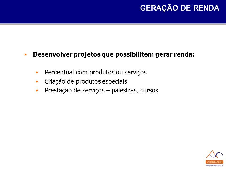 GERAÇÃO DE RENDA Desenvolver projetos que possibilitem gerar renda: