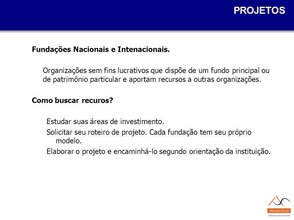 PROJETOS Fundações Nacionais e Intenacionais.