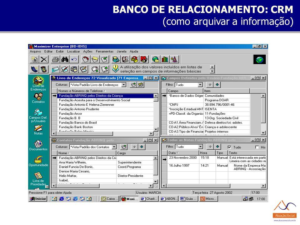 BANCO DE RELACIONAMENTO: CRM
