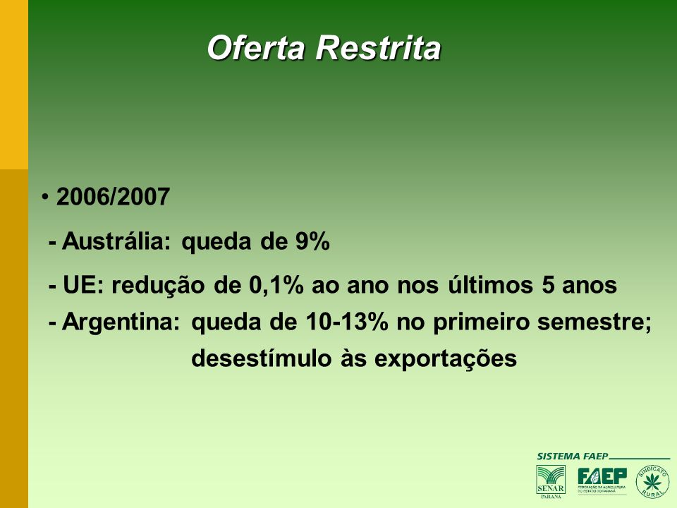 Oferta Restrita 2006/2007 - Austrália: queda de 9%
