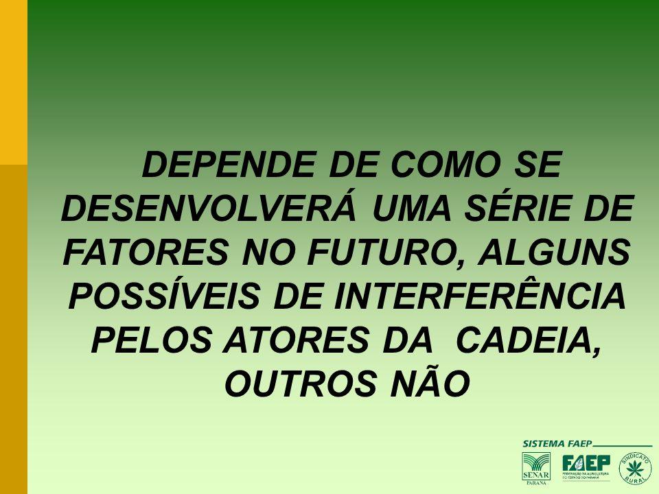 DEPENDE DE COMO SE DESENVOLVERÁ UMA SÉRIE DE FATORES NO FUTURO, ALGUNS POSSÍVEIS DE INTERFERÊNCIA PELOS ATORES DA CADEIA, OUTROS NÃO