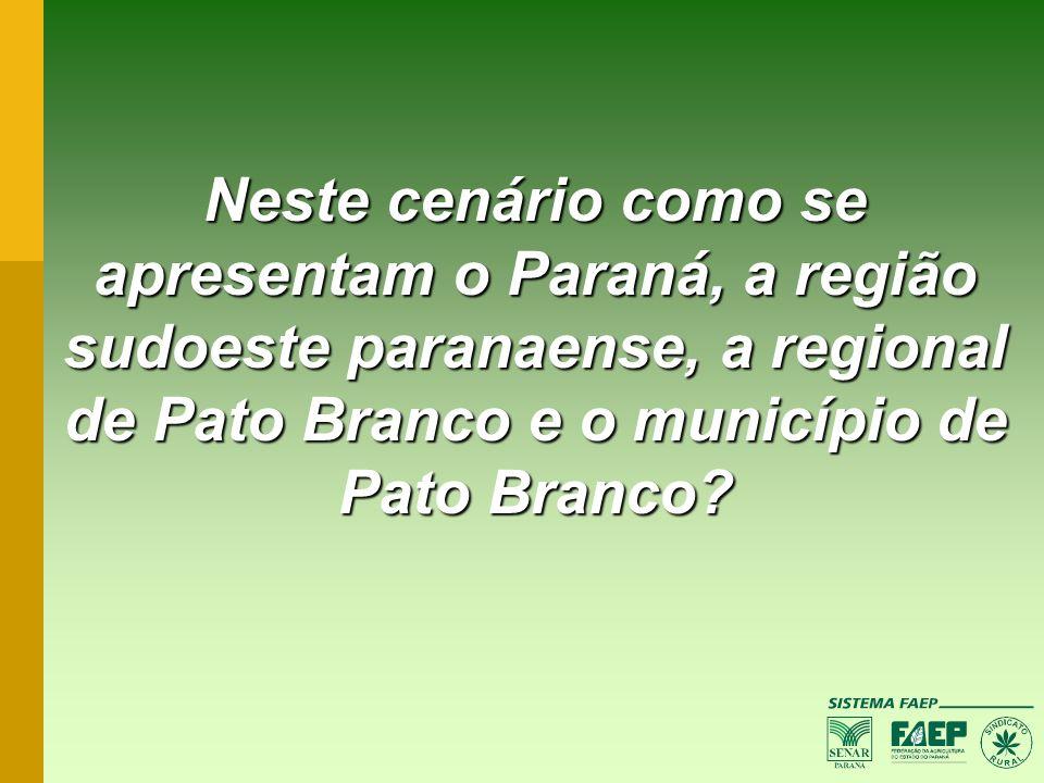 Neste cenário como se apresentam o Paraná, a região sudoeste paranaense, a regional de Pato Branco e o município de Pato Branco