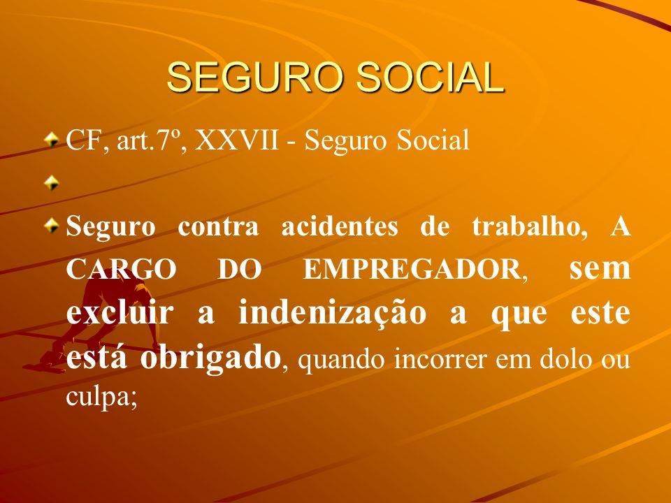 SEGURO SOCIAL CF, art.7º, XXVII - Seguro Social