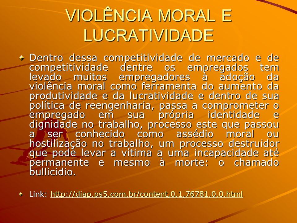 VIOLÊNCIA MORAL E LUCRATIVIDADE