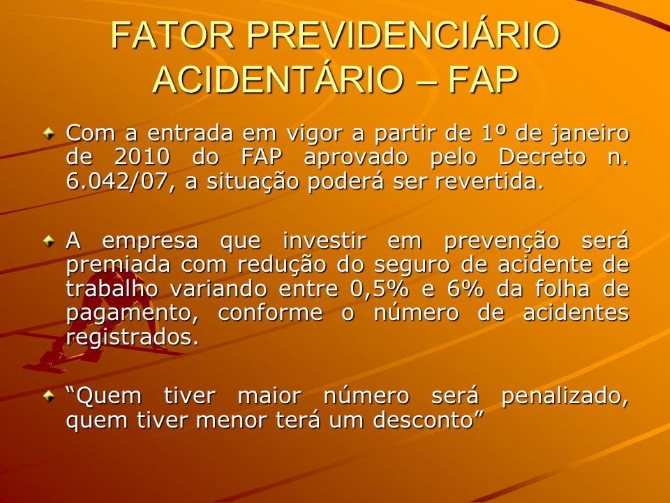 FATOR PREVIDENCIÁRIO ACIDENTÁRIO – FAP