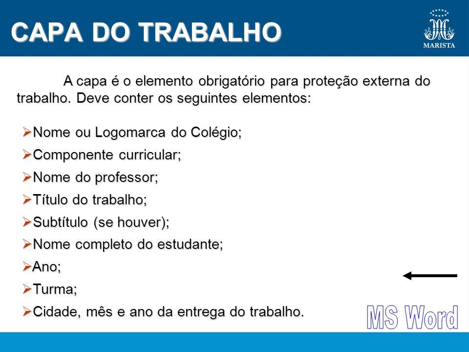 CAPA DO TRABALHO MS Word