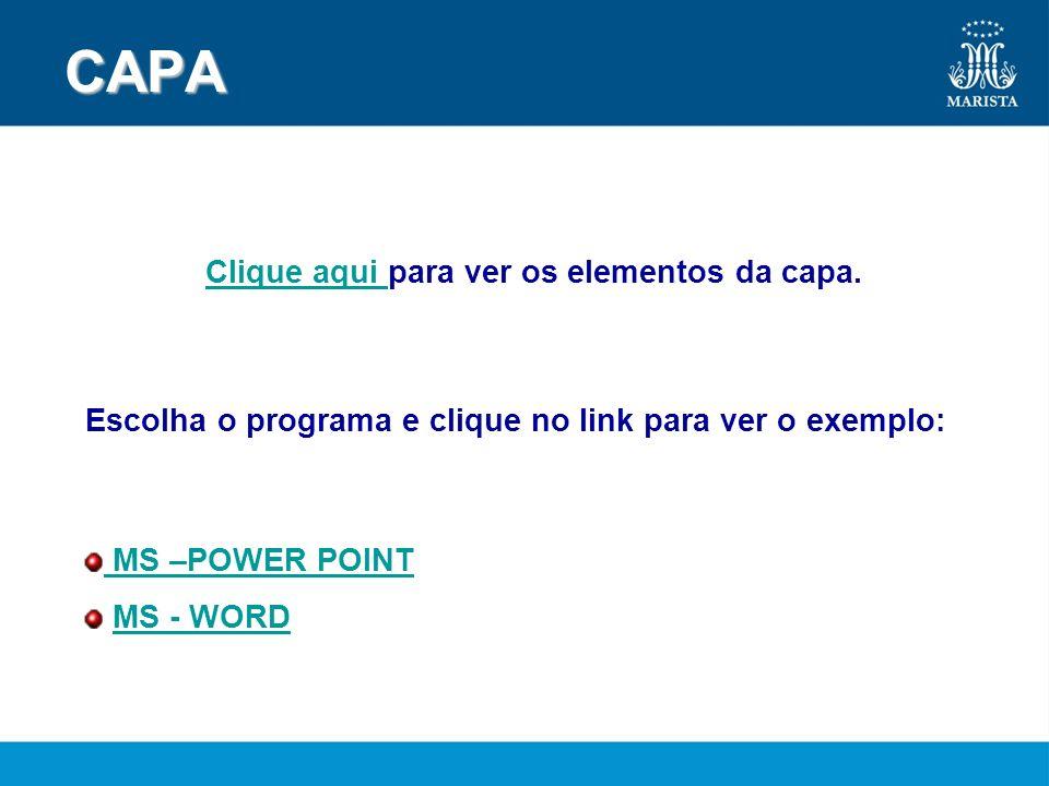 CAPA Clique aqui para ver os elementos da capa.