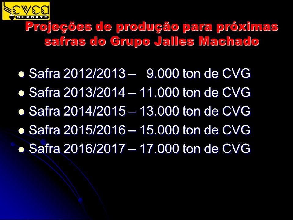 Projeções de produção para próximas safras do Grupo Jalles Machado