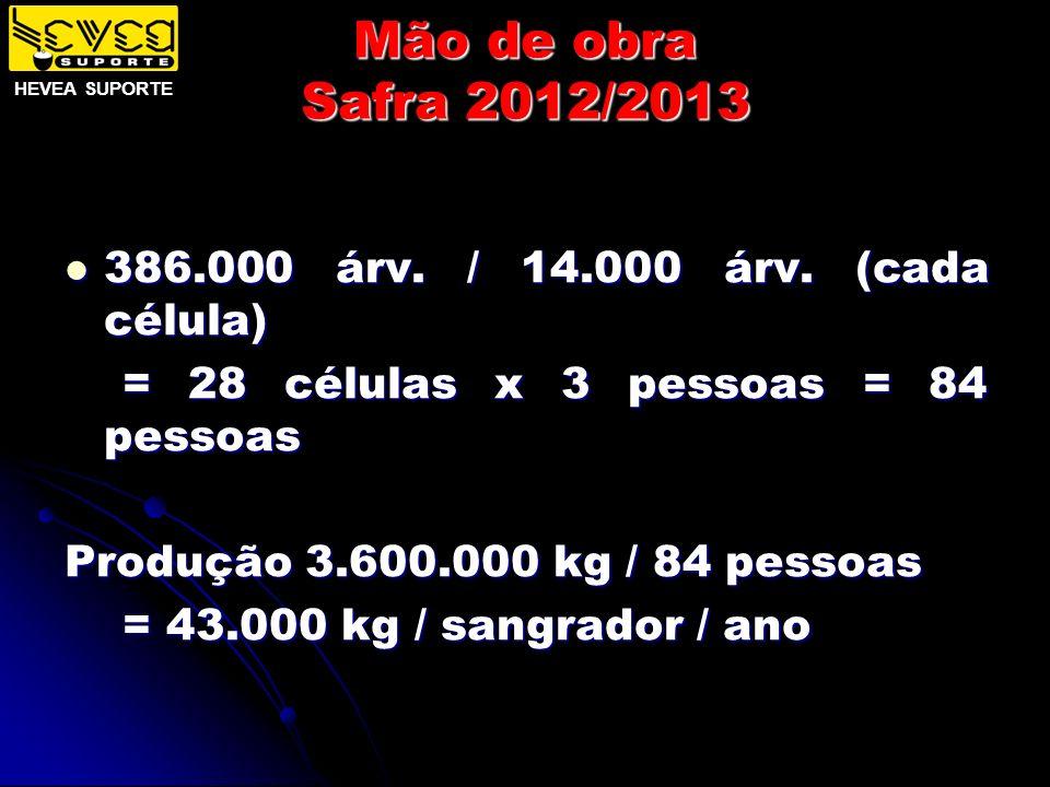 Mão de obra Safra 2012/2013 386.000 árv. / 14.000 árv. (cada célula)
