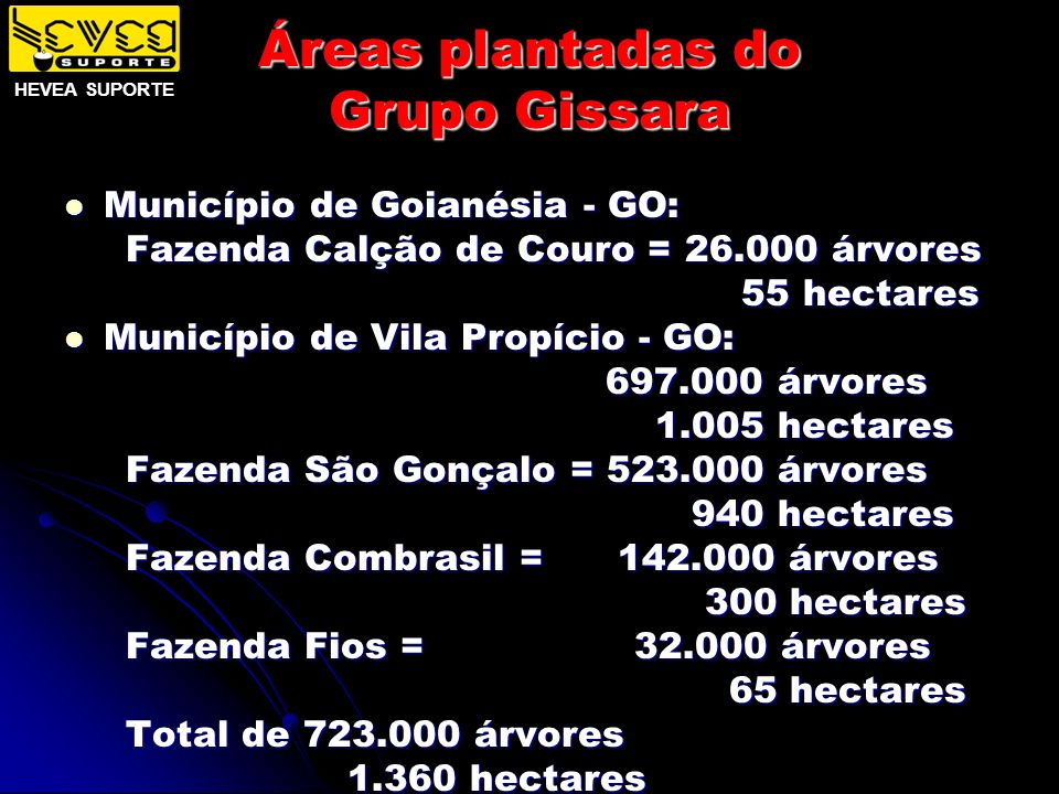 Áreas plantadas do Grupo Gissara