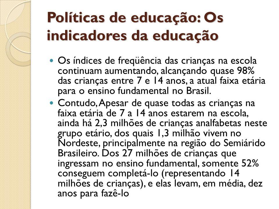 Políticas de educação: Os indicadores da educação