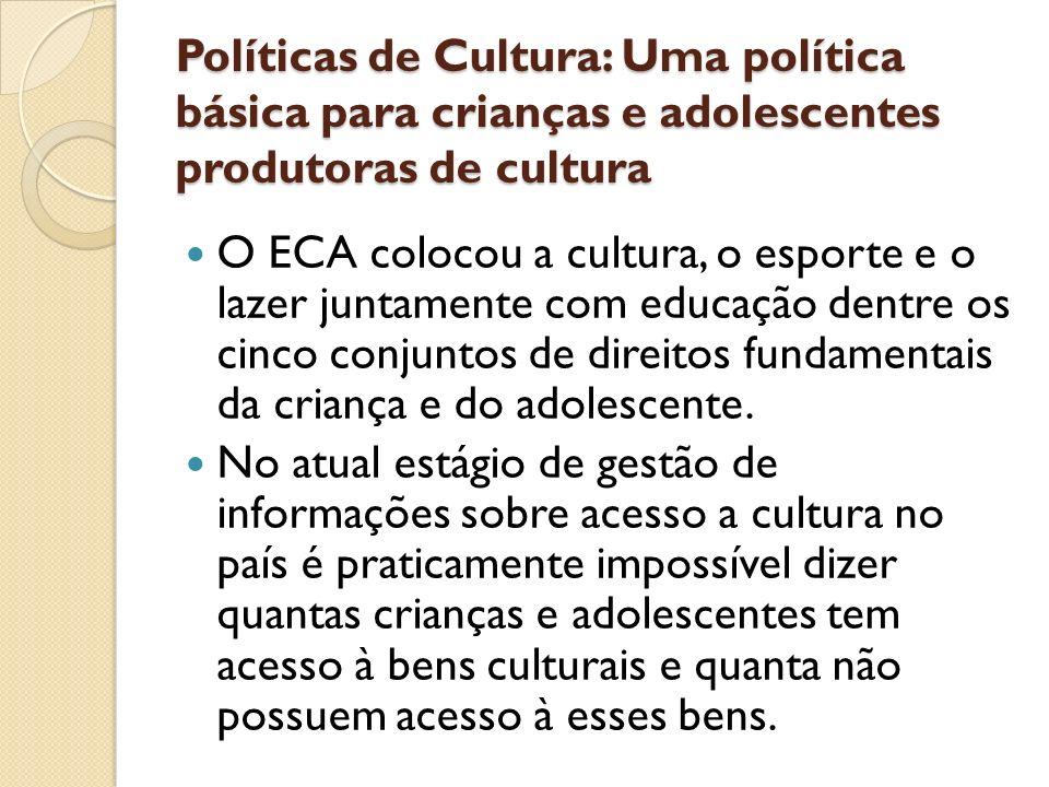 Políticas de Cultura: Uma política básica para crianças e adolescentes produtoras de cultura