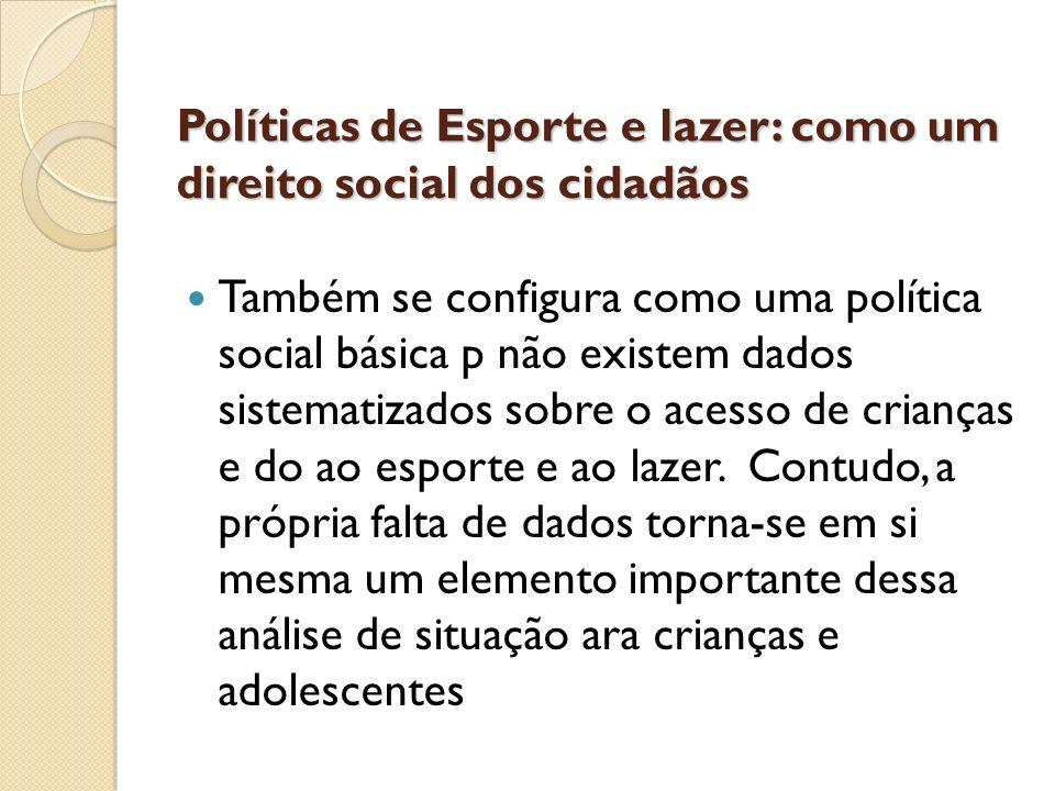Políticas de Esporte e lazer: como um direito social dos cidadãos