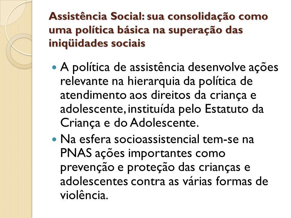 Assistência Social: sua consolidação como uma política básica na superação das iniqüidades sociais