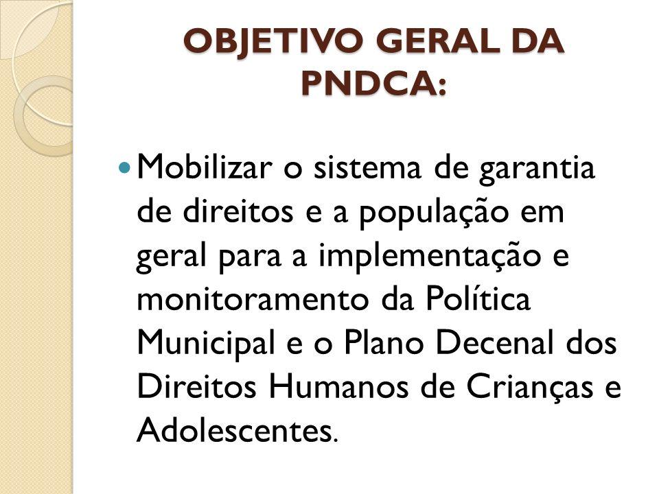 OBJETIVO GERAL DA PNDCA: