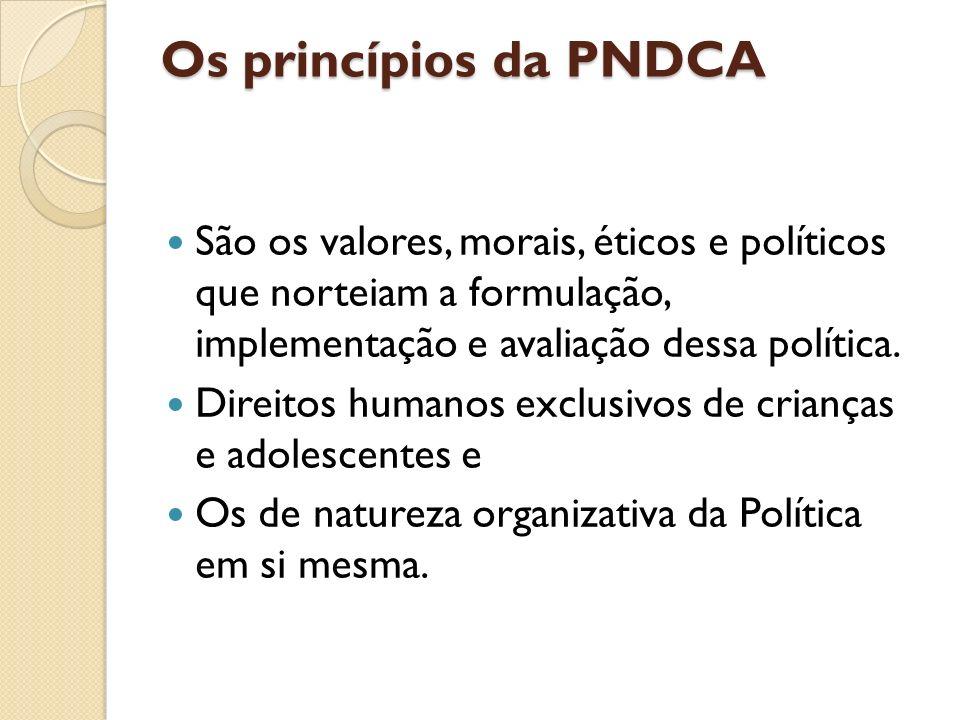 Os princípios da PNDCA São os valores, morais, éticos e políticos que norteiam a formulação, implementação e avaliação dessa política.