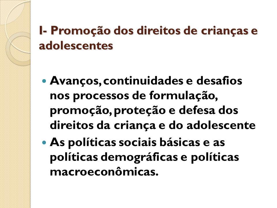 I- Promoção dos direitos de crianças e adolescentes
