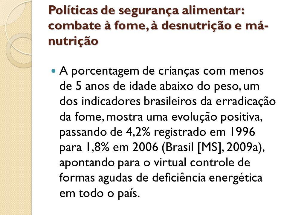 Políticas de segurança alimentar: combate à fome, à desnutrição e má-nutrição
