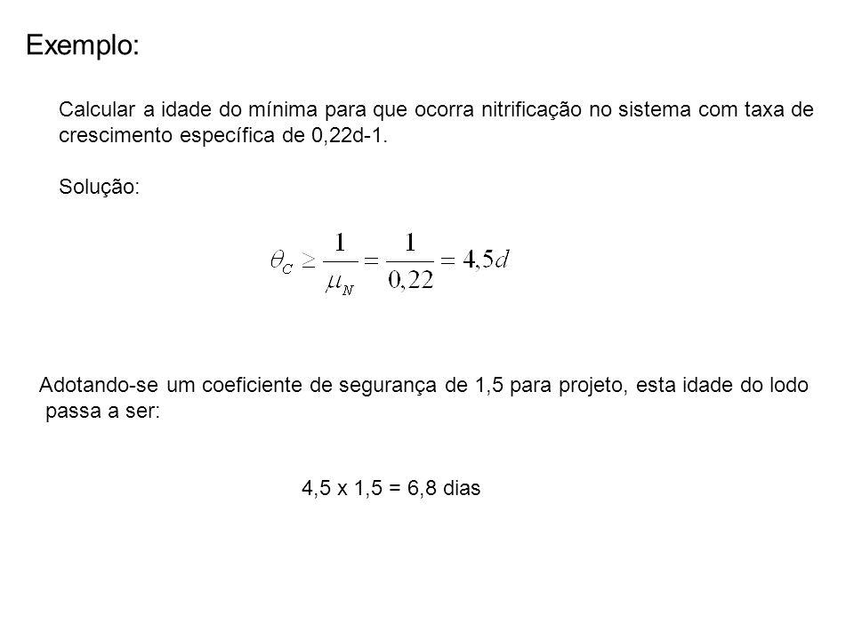 Exemplo: Calcular a idade do mínima para que ocorra nitrificação no sistema com taxa de. crescimento específica de 0,22d-1.