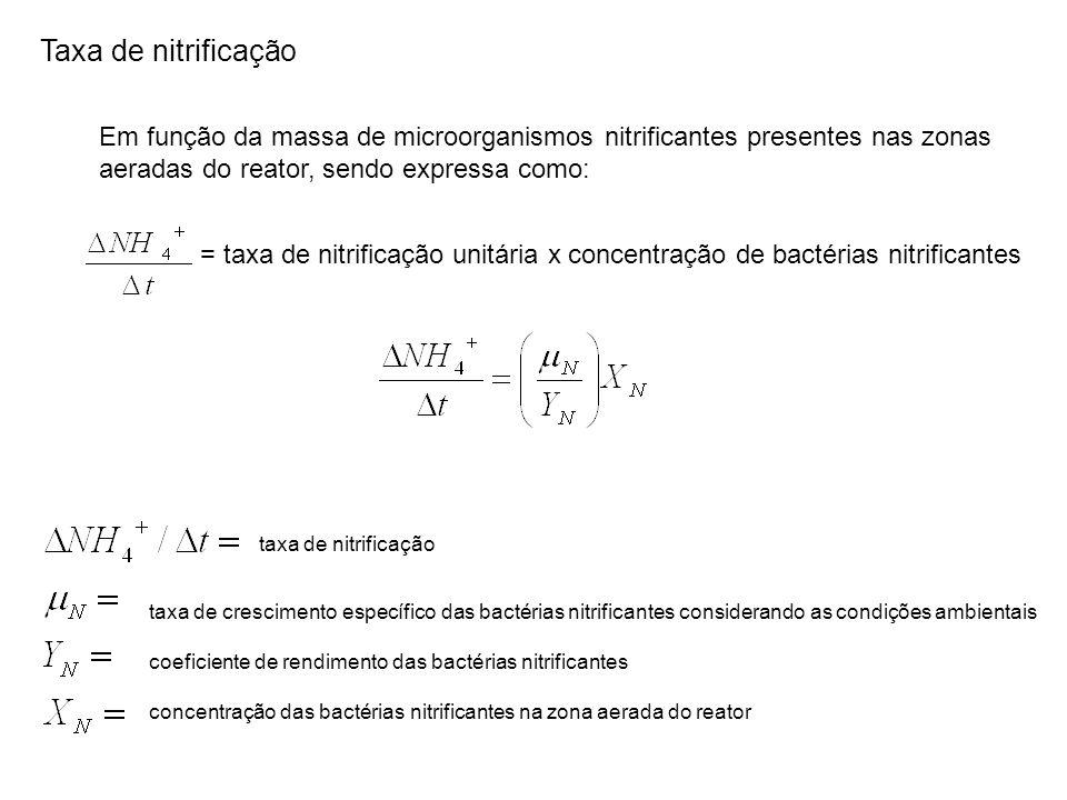Taxa de nitrificação Em função da massa de microorganismos nitrificantes presentes nas zonas. aeradas do reator, sendo expressa como: