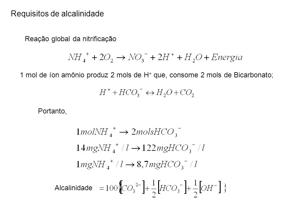 Requisitos de alcalinidade