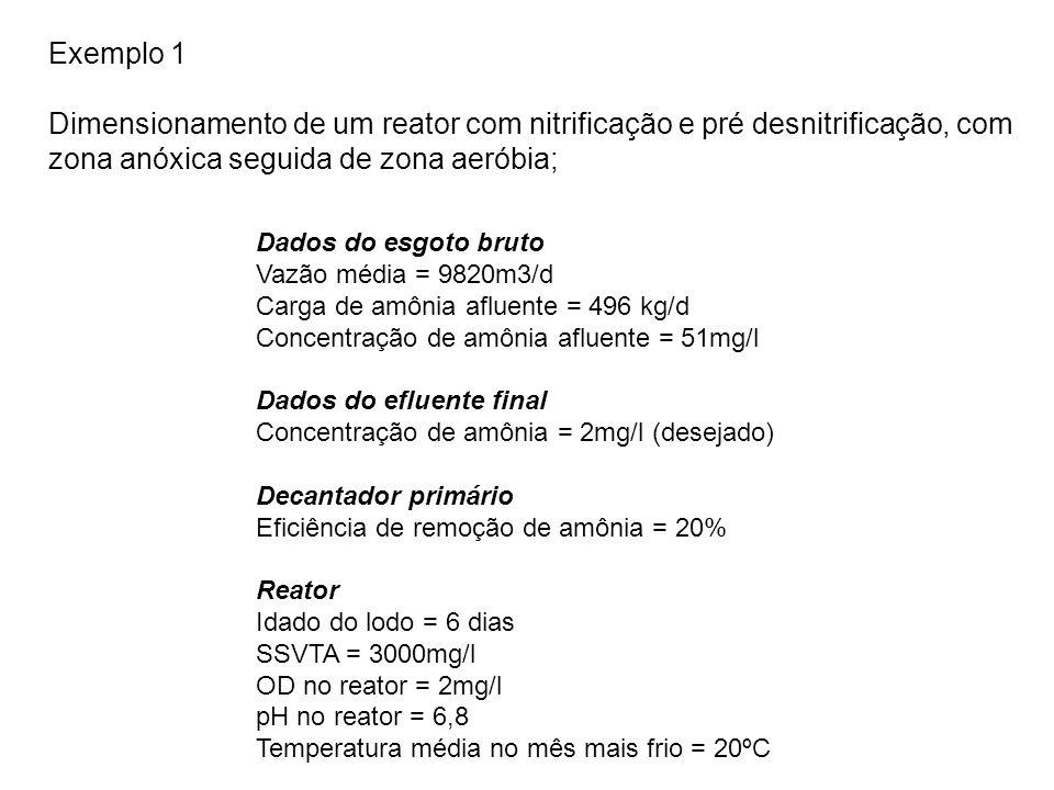 Exemplo 1 Dimensionamento de um reator com nitrificação e pré desnitrificação, com zona anóxica seguida de zona aeróbia;