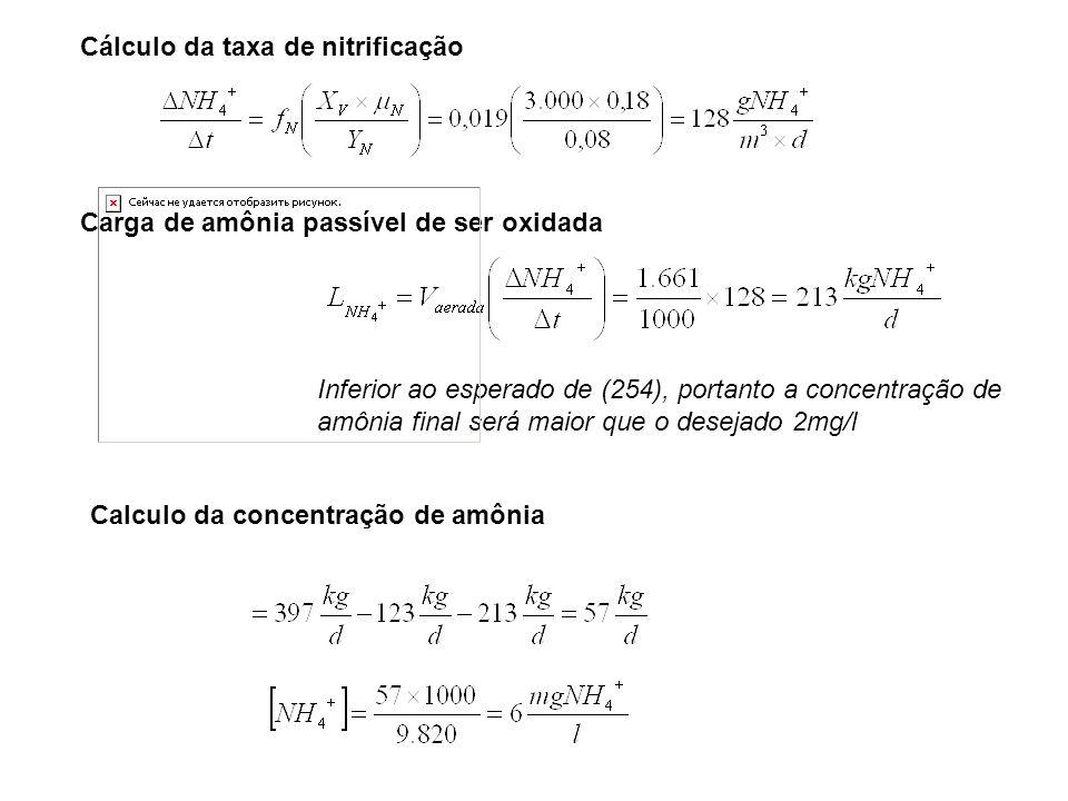 Cálculo da taxa de nitrificação