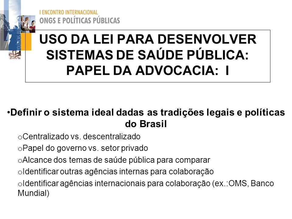 USO DA LEI PARA DESENVOLVER SISTEMAS DE SAÚDE PÚBLICA: PAPEL DA ADVOCACIA: I